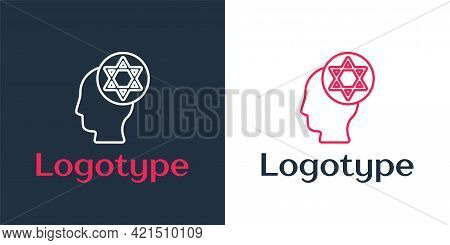 Logotype Line Orthodox Jewish Hat Icon Isolated On White Background. Jewish Men In The Traditional C