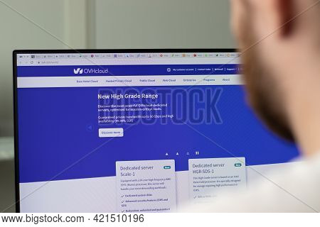 New York, Usa - 1 May 2021: Ovhcloud Company Website On Screen, Illustrative Editorial