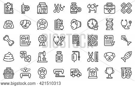 Veterinary Clinic Icons Set. Outline Set Of Veterinary Clinic Vector Icons For Web Design Isolated O