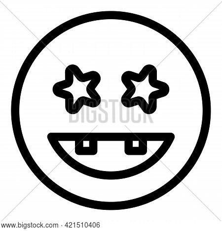Excited Face Icon. Outline Excited Face Vector Icon For Web Design Isolated On White Background