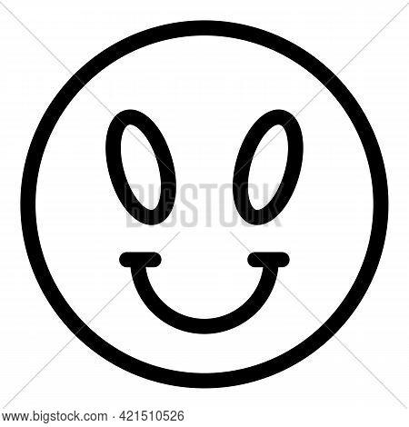 Alien Emoji Icon. Outline Alien Emoji Vector Icon For Web Design Isolated On White Background