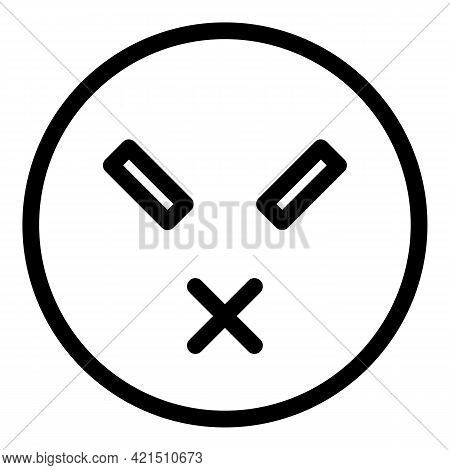 Silent Emoji Icon. Outline Silent Emoji Vector Icon For Web Design Isolated On White Background