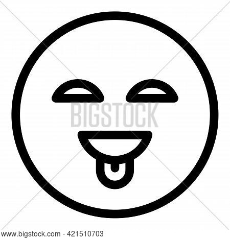 Tongue Smile Face Icon. Outline Tongue Smile Face Vector Icon For Web Design Isolated On White Backg