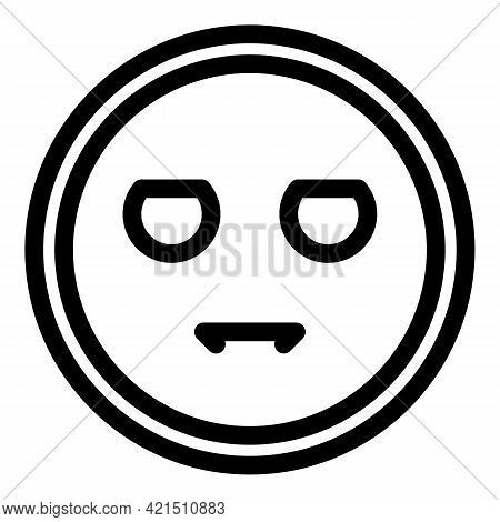 Serious Emoji Icon. Outline Serious Emoji Vector Icon For Web Design Isolated On White Background