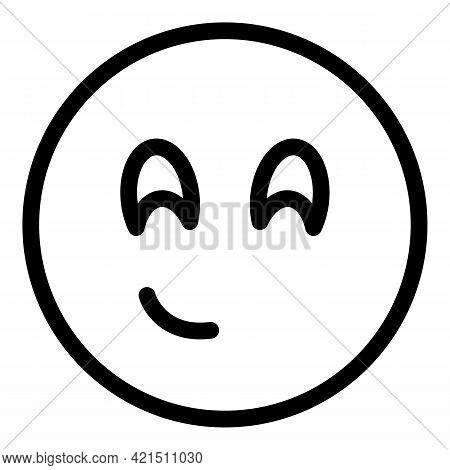 Slightly Smiling Face Icon. Outline Slightly Smiling Face Vector Icon For Web Design Isolated On Whi