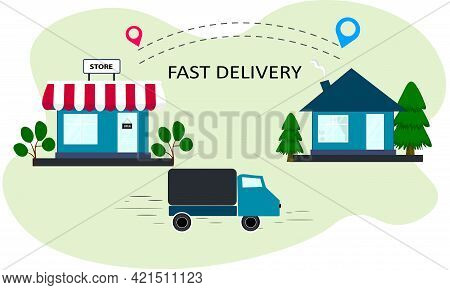 Fast Delivery From The Store. Bring Your Purchases Home By Truck. Tracking The Delivery Route From T