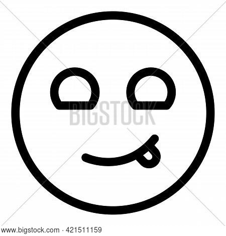 Winking Face Icon. Outline Winking Face Vector Icon For Web Design Isolated On White Background