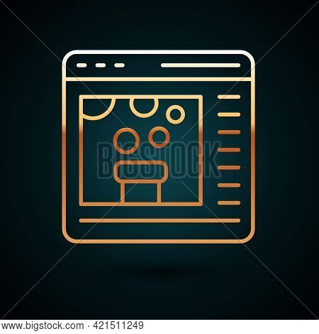 Gold Line Chemical Experiment Online Icon Isolated On Dark Blue Background. Scientific Experiment In