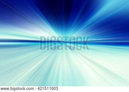 Abstract Radial Blur Surface In Dark Blue And Light Blue  Tones. Abstract Blue Background With Radia