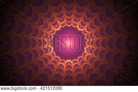 Abstract Illustration Background Image Fantastic Sun With A Lilac Glowing Core And Many Concentric S