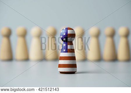 Usa Flag Print Screen On Wooden Figure And Standing In Front Of Others Figure , United States Countr