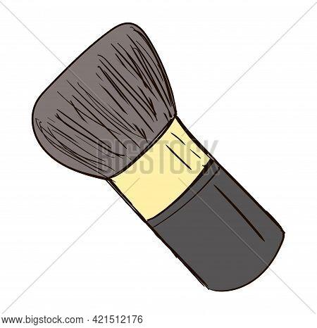 Hand-drawn Cosmetics Brush. Doodle Vector Illustration. Make Up