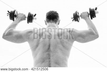 Pain Is Temporary, Pride Is Forever. Muscular Man Exercising With Dumbbell Rear View. Sportsman With
