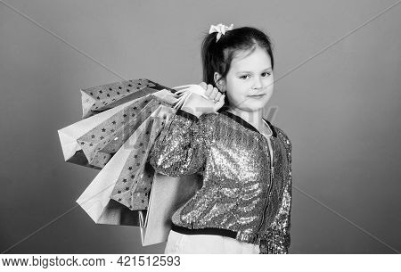 Online Store. Happy Child. Little Girl With Gifts. Special Offer. Holiday Purchase Saving. Sales And