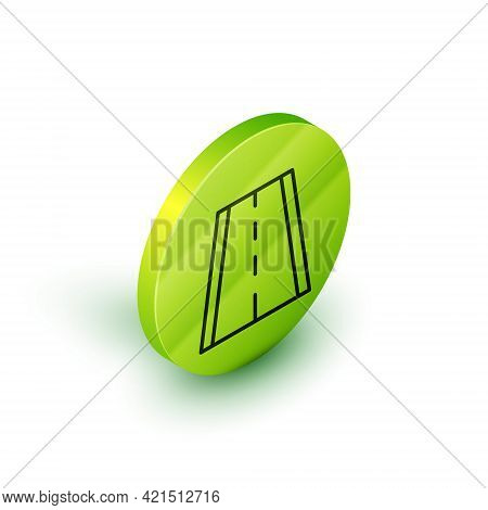 Isometric Line Special Bicycle Ride On The Bicycle Lane Icon Isolated On White Background. Green Cir