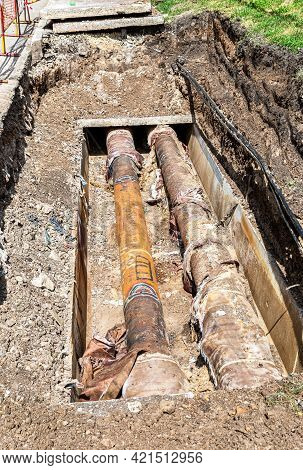 Repair And Replacement Of Underground Communications On The City Street. Replacement Pipes Of The He