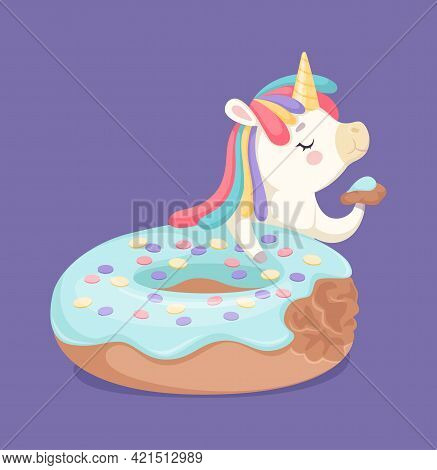 I Like Donuts. Yummy Glazed Cake And Cartoon Unicorn Eating Slice. Bakery Or Cafe Poster Illustratio