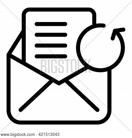 Email Refresh Icon. Outline Email Refresh Vector Icon For Web Design Isolated On White Background