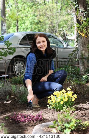 Young Positive Brunette Girl Works In A Spring Garden, Plants Flowers And Soil Grab With Special Rak