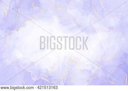 Abstract Luxury Lavender Liquid Watercolor Background With Golden Cracks. Pastel Violet Marble Alcoh