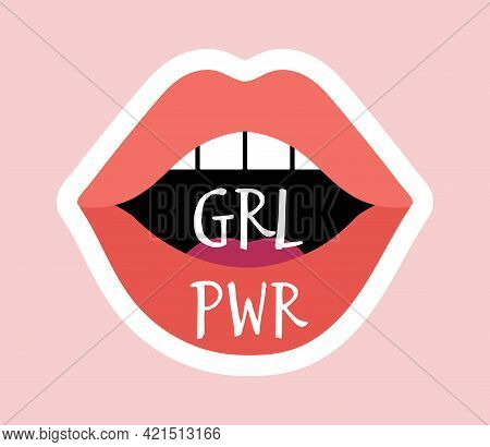 Girl Power Badge. Sexy Red Lips, Cartoon Feminists Label. Female Mouth With Trendy Slogan, Women Rig