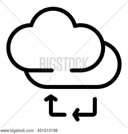 Backup Memory Cloud Icon. Outline Backup Memory Cloud Vector Icon For Web Design Isolated On White B