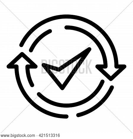 Done Backup Icon. Outline Done Backup Vector Icon For Web Design Isolated On White Background