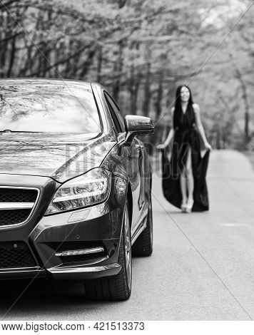 Symbol Of Richness. Rich People Lifestyle. Start Journey. Luxury Car. Auto And Pretty Sexy Woman At