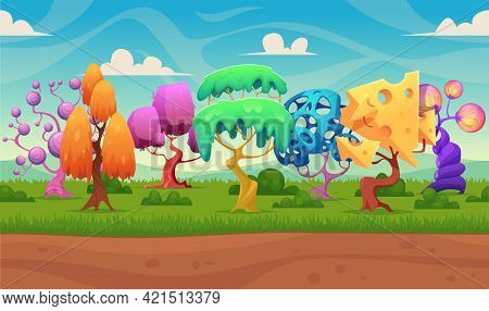 Fairytale Background. Fantasy Trees Night Lighting Wood Forests Lanterns Glowing Fairytale Effects I