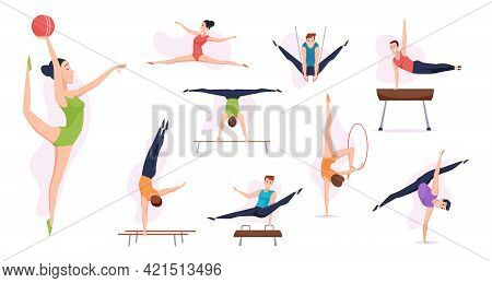 Acrobatic People. Gymnasts In Action Poses Sport Athletes Making Fitness Training Elements Exact Vec