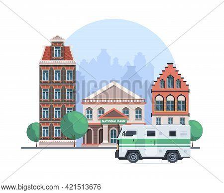 Car Bank. Collector Vehicle Cash Money Loading Finance Services Garish Vector Cartoon Background Arm