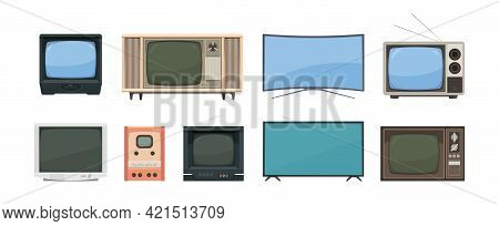 Tv Set Collections. Gadgets For Streaming News Broadcasts Movies Films Retro Tv And Modern Digital I