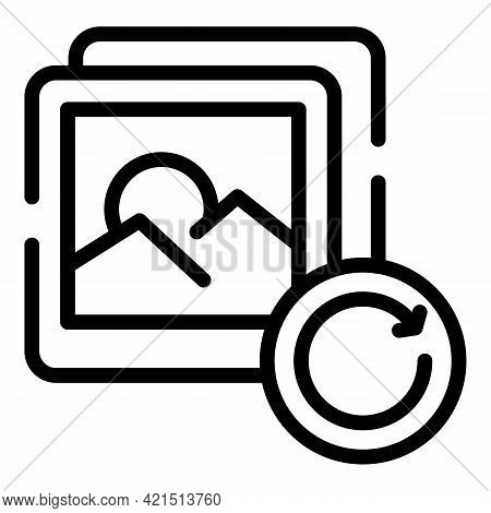 Pictures Update Icon. Outline Pictures Update Vector Icon For Web Design Isolated On White Backgroun