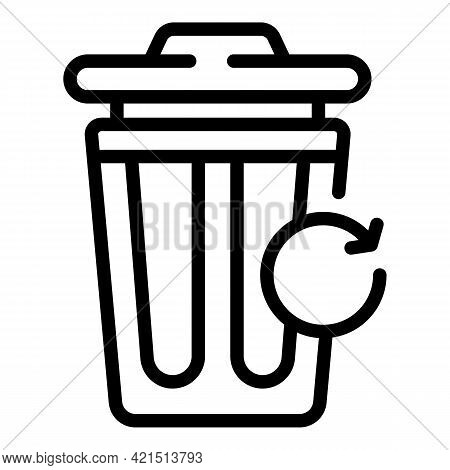 Trash Bin Recovery Icon. Outline Trash Bin Recovery Vector Icon For Web Design Isolated On White Bac