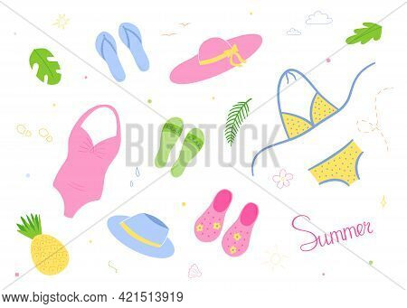 Beach Set. Hats And Swimwear, Light Shoes - Flip Flops.isolated Drawings In The Style Of Doodle On A