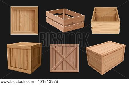 Wooden Containers. 3d Boxes For Fragile Products Empty Packages Various Views Cargo Shipping Wooden