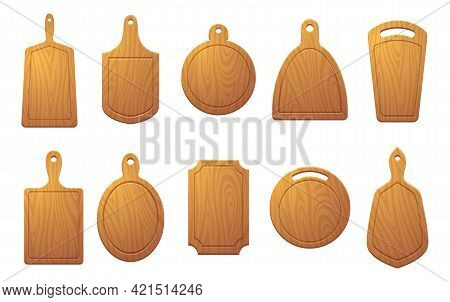 Cutting Table For Food. Wooden Plate For Pizza Or Natural Sliced Products Exact Vector Colored Illus