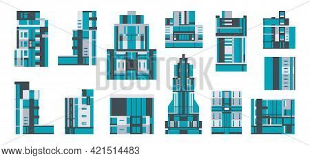 Collection Of City Buildings. A Set Of Glass Houses, Skyscrapers, Residential Buildings. City Landsc