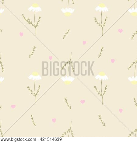 Vector Seamless Pattern With Chamomile, Petals And Hearts On Yellow Background. For Decoration, Invi