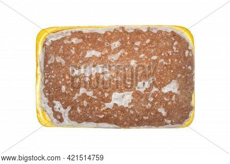 Minced Meat In A Plastic Container Top View.frozen Minced Meat On A White Background.a Piece Of Minc