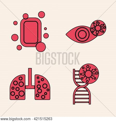 Set Dna Symbol And Virus, Bar Of Soap, Reddish Eye Due To Virus And Virus Cells In Lung Icon. Vector