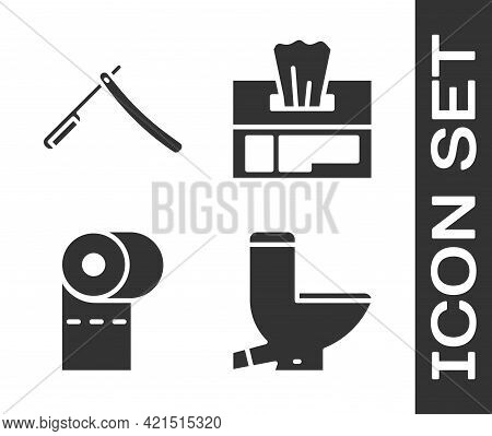 Set Toilet Bowl, Straight Razor, Toilet Paper Roll And Wet Wipe Pack Icon. Vector