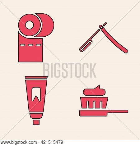 Set Toothbrush With Toothpaste, Toilet Paper Roll, Straight Razor And Tube Of Toothpaste Icon. Vecto