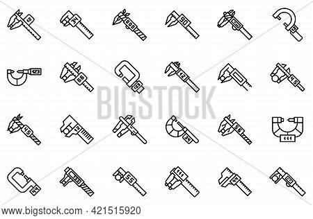 Digital Micrometer Icons Set. Outline Set Of Digital Micrometer Vector Icons For Web Design Isolated