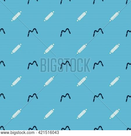 Set Jelly Worms Candy And Candy On Seamless Pattern. Vector