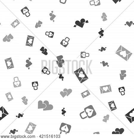 Set Amour With Heart And Arrow, Lock, Envelope Valentine And Heart On Seamless Pattern. Vector