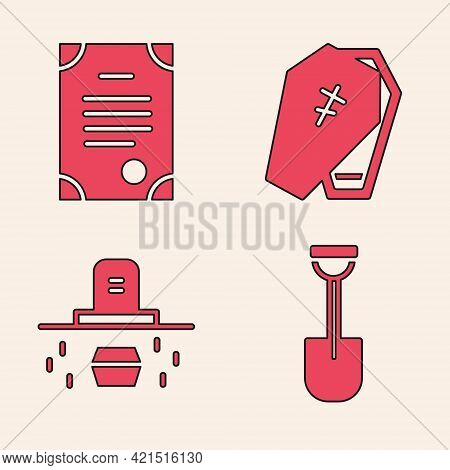 Set Shovel, Death Certificate, Coffin With Cross And Grave With Coffin Icon. Vector