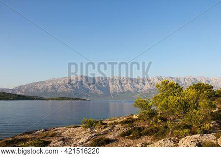 Turquoise Sea Water Of Beach And Mountains, Sumartin, Brac Island, Croatia