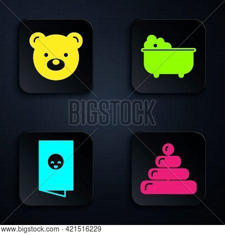 Set Pyramid Toy, Teddy Bear Plush Toy, Baby Shower Invitations Card, Poster And Baby Bathtub. Black