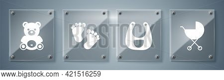 Set Baby Stroller, Baby Bib, Baby Footprints And Teddy Bear Plush Toy. Square Glass Panels. Vector